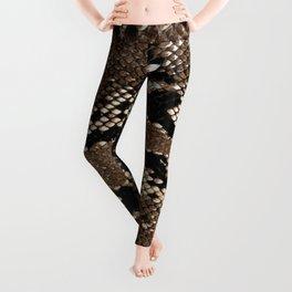 Python Skin Pattern Snake Skin Brown Animal Print Home Decor Leggings