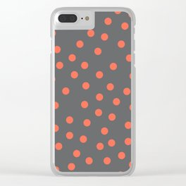 Simply Dots Deep Coral on Storm Gray Clear iPhone Case