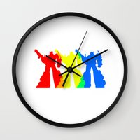 optimus prime Wall Clocks featuring Optimus Prime Colors by Christopher