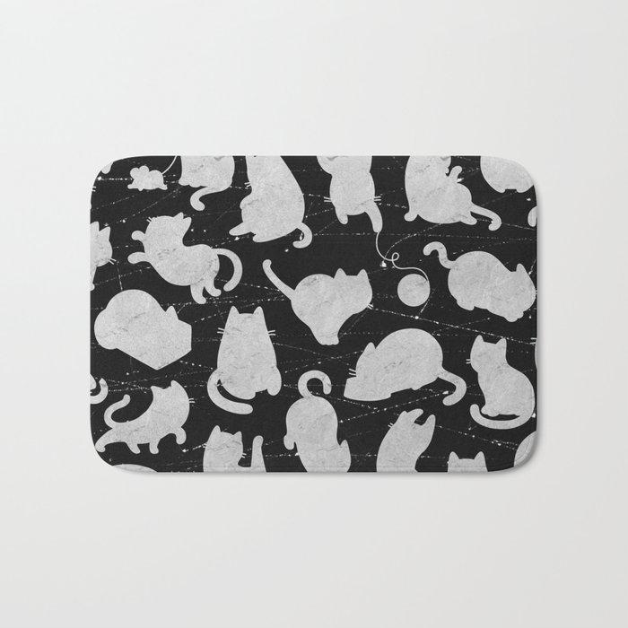 Silver Cats on Black Kitty Pattern Bath Mat