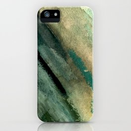 Green Thumb - an abstract mixed media piece in greens and blues iPhone Case
