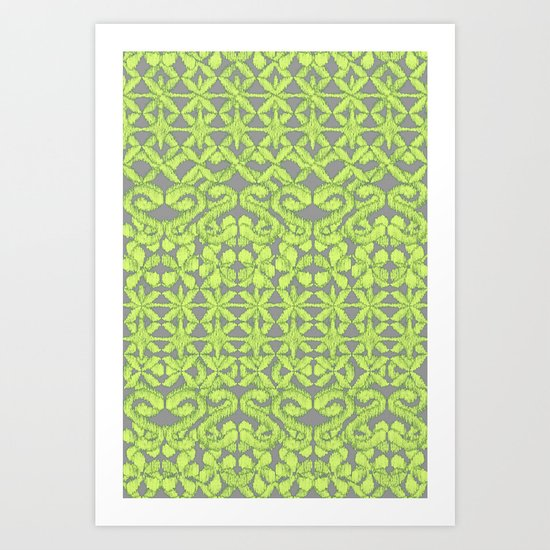 Ikat Lace in Lime on Dark Grey Art Print