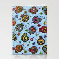 sugar skulls Stationery Cards featuring Sugar Skulls by Kara Peters