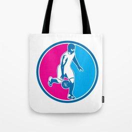 Basketball Player Dribbling Ball Circle Retro Tote Bag