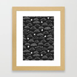 Black Doodle clouds and swallows. Cloudscape pattern with birds. Framed Art Print