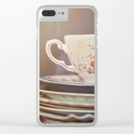 Vintage teacup and old books Clear iPhone Case