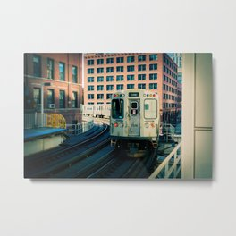 Chicago Train El Train Leaving Station L Train The Loop Urban Windy City Commute Metal Print