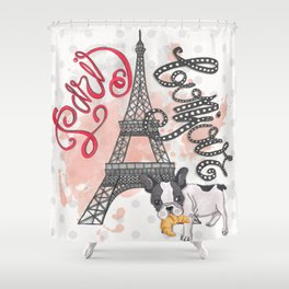 Paris Bonjour Shower Curtain