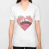 "tooth V-neck T-shirts featuring ""sweet tooth"" by Vincent Vernacatola"