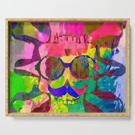 old vintage funny skull art portrait with painting abstract background in red pink yellow green blue Serving Tray