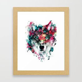 Wolf Face, Colorful Wolf Framed Art Print
