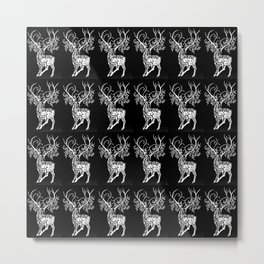 Deer Pattern in Black and white with Branchers for antlers Metal Print