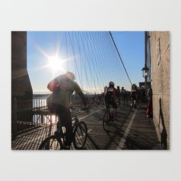 Cyclists on the Brooklyn Bridge Canvas Print