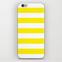 Canary yellow - solid color - white stripes pattern iPhone Skin