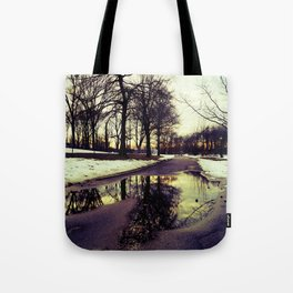 Beauty After the Snow Melts, Reflections of Trees Tote Bag