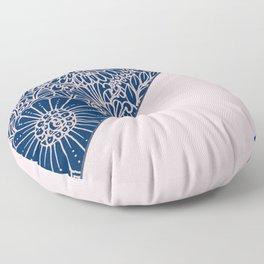 Blush pink navy blue hand drawn modern floral Floor Pillow
