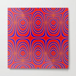 Neon Red Yellow Abstract Bullseye Design Metal Print