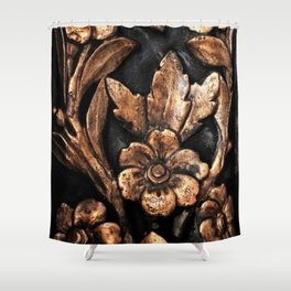 Gold Flowers Shower Curtain