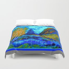 Western Golden Aspens Blue Mountain Landscape Art Duvet Cover
