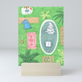 Green Tiled Bath drawing by Amanda Laurel Atkins Mini Art Print