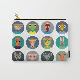 Chinese zodiac collection, Set of animals faces circle icons in Trendy Flat Style Carry-All Pouch