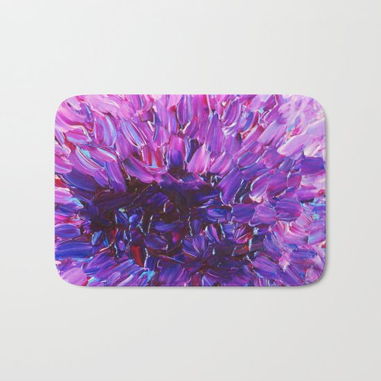 LOTUS BLOSSUM - Beautiful Purple Floral Abstract, Modern Decor in Eggplant Plum Lavender Lilac Bath Mat