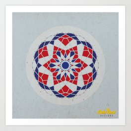 Mandala no.5 Red & Navy Art Print