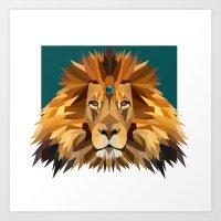 Geo Gem Lion Art Print