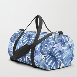 Blue tropical pattern  (monstera leaves and bird of paradise flowers Duffle Bag