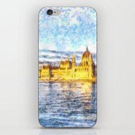Budapest River Danube Sunset Art iPhone Skin