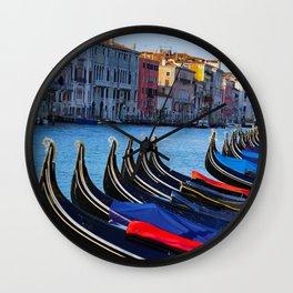 Venice canals, Gondolas, palace in Venice, Travel to Venice, Italy Wall Clock