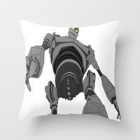iron giant Throw Pillows featuring Iron Giant. by Steven Goddard