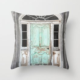 Barn Door Vintage Turquoise Throw Pillow