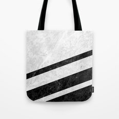 White Striped Marble Tote Bag