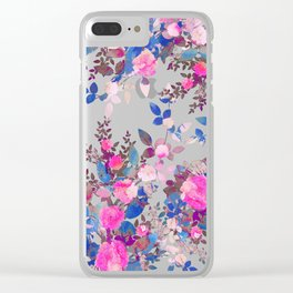 Magenta blue painted roses Clear iPhone Case