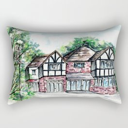 English Tudor-Style House, Watercolour Painting Rectangular Pillow