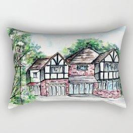 English Tudor-Style House, Watercolour Painting Rectangular Pillow