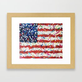 Born on the 4th of July, US Confetti Flag Framed Art Print
