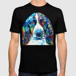 Colorful English Springer Spaniel Dog by Sharon Cummings T-shirt