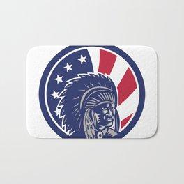 Native American Indian Chief USA Flag Icon Bath Mat