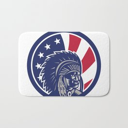 Native American Indian Chief USA Flag Icon Bath Mat