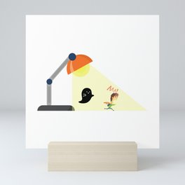 Ghost Chasing Small Human Under A Light Lamp Mini Art Print