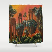 oasis Shower Curtains featuring Unsettled Oasis by bmeow