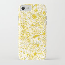 Yellow Floral Doodles iPhone Case