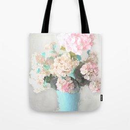 Shabby Chic Hydrangea Flowers Pink White Aqua Blue Tote Bag