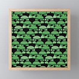 Turtle Pattern (Black and green) Framed Mini Art Print