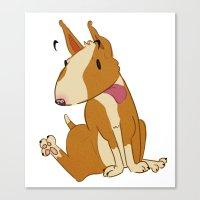 bull terrier Canvas Prints featuring Bull Terrier by Kristen Rimmel