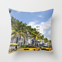 Yellow Cabs On Ocean Drive Throw Pillow