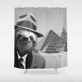 Sloth in Egypt in front of the pyramids Shower Curtain