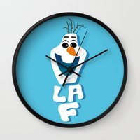 olaf Wall Clocks featuring OLAF by Matteo Gaggia Bomber-art